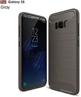 Protective Case Compatible with Samsung Ultra Light Carbon Fiber Armor Shockproof Brushed Silicone Grip Case Compatible Samsung Galaxy S8 Phone case (Color : Gray)