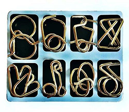 Joyeee 8 Piezas Alambre de Metal Enigma Brain Teaser 3D Rompecabezas del Cerebro del Metal Juego Puzle #3 - Juguete Educativo Clásico Inteligencia para los Adultos y los Cabritos