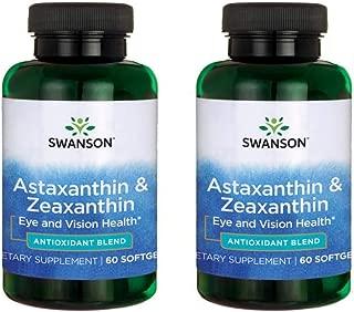 Swanson Astaxanthin & Zeaxanthin Eye Vision Brain Skin Health Antioxidant Support Supplement (Astaxanthin 4 mg & OmniXan Zeaxanthin 4 mg) 60 Softgels Sgels (2 Pack)