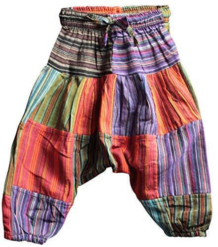 Shopoholic Fashion Kinder-Hose im Boho-/Hippie-Stil, bequeme Retro-Hose Gr. XXL, Patch