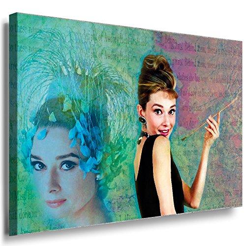 Julia-Art Leinwandbilder - Audrey Hepburn Model Icon Bild 1 teilig - 120 mal 80 cm Leinwand auf Rahmen - sofort aufhängbar Wandbild XXL - Kunstdrucke QN164-6