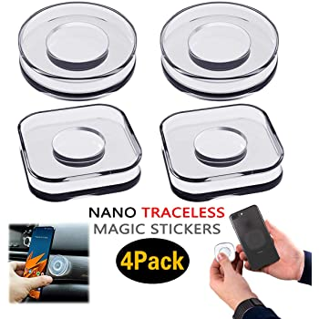 4 Pack Reusable Nano Gel Gripping Pads FineGood Washable Double Sided Sticky Phone Holders Multifunctional Traceless Magic Stickers