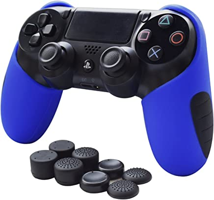 Skin Compatible for PS4 Controller Grips Pandaren Soft Silicone Thicker Half Cover for PS4 /Slim/PRO Controller (Blue Skin X 1 + FPS Pro Thumb Grip X 8)