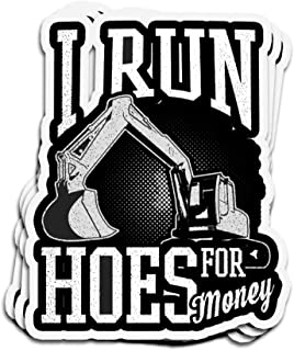 Hanabi 3 PCs Stickers Heavy Equipment Operator Run Hoes for Money Run Hoes for Money 4 × 3 Inch Die-Cut Decals for Laptop Window