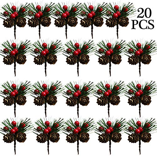Acronde 20PCS Artificial Pine Picks Christmas Simulation Pine Needle Small Berries Pinecones for Flower Arrangements Wreaths Wedding Garden Xmas Tree Decorations