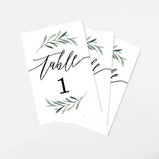 Tumbalina Wedding Table Numbers, Botanical Greenery Design, 4x6 Calligraphy Design, Double Sided, Numbers 1-25