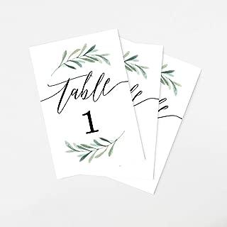 Tumbalina Wedding Table Numbers, Botanical Greenery Design, 4x6 Calligraphy Design, Double Sided (1-25)
