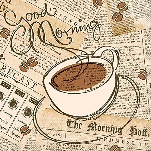 Sovie HORECA Serviette Good Morning | Tissue 33x33 cm | Kaffee Guten Morgen Frühstück Gastronomie | 100 Stück Braun-Creme