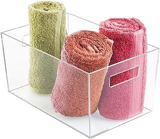 iDesign Clarity boite de rangement, grand rangement salle de bain en plastique avec poignées pour cosmétiques ou maquillag...