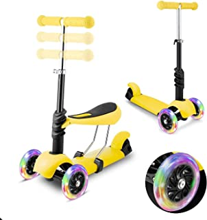 WeSkate Mini Scooter for Kids, Lights Up Scooters for Toddlers Girls & Boys, Removable Seat & Adjustable Height, Design fo...
