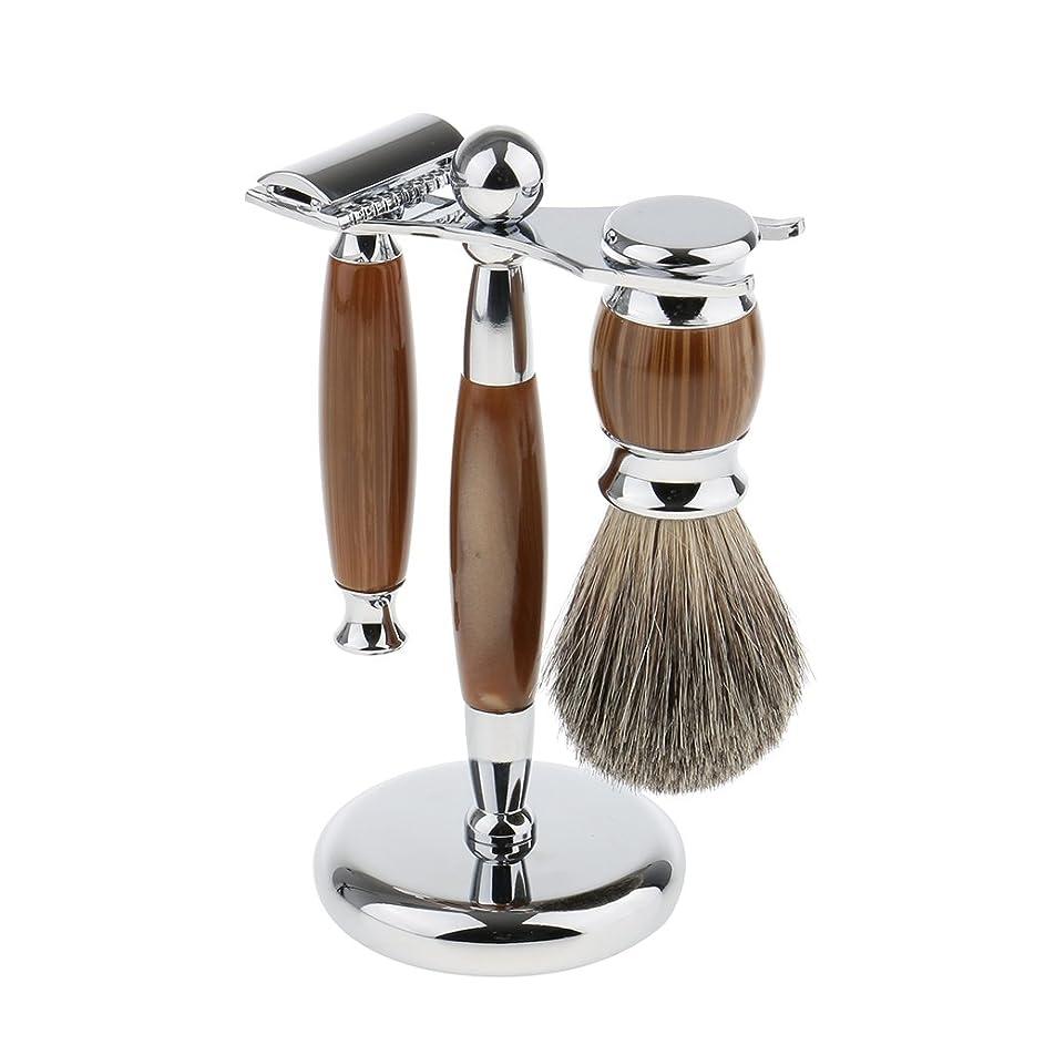 ロードハウスワーム抗議Baoblaze 3点入り シェービング スタンド ブラシ マニュアル ダブルエッジ 髭剃り メイク レトロ プレゼント 3色選べ - タイプ3