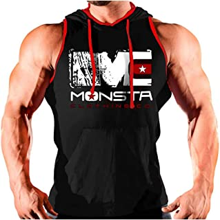 Men's Sleeveless Hoodie Stringer Fitness Bodybuilding Workout Hooded Tank Tops S-XXXL
