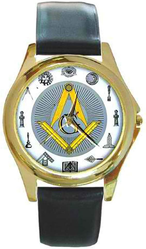 Masonic Freemason Symbol Portland Mall Design Watch Custom Popular brand Leather