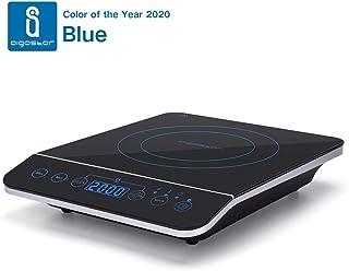 Aigostar BlueFire 30PKZ- Placa de inducción portátil, 2000 W, control táctil, 10 niveles de potencia, temporizador, pantalla digital LED. Para recipientes entre 13 y 24 cm diámetro.