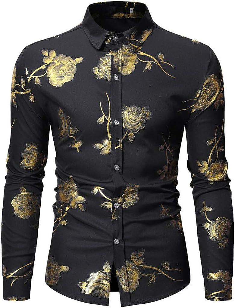 Gergeos Mens Floral Casual Fashion Shirt Long Sleeve Shirt Button Down Shirts Slim Fit T-Shirts 2019 Black
