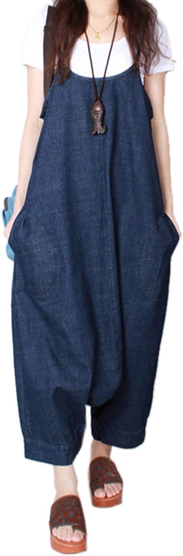 Elonglin Women Baggy Overalls Loose Fit Casual Denim Jeans Jumpsuit Strap Romper