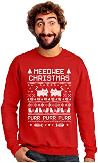 Tstars Meeowee Christmas Ugly Sweater - Cute Xmas Party Sweatshirt with Xmas Prop