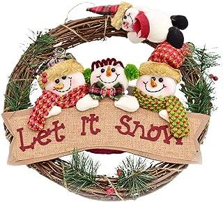 ZeeDix 14 inch/35cm Christmas Wreath for Front Door - Merry Christmas Wreath with 4 Snowman Door Wreaths Hanger for Home Kitchen Wall Window Hall Decor