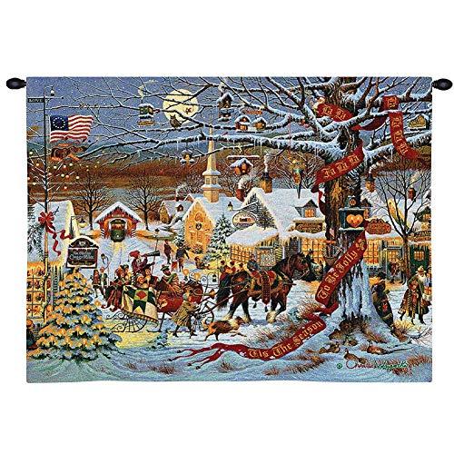 N / A Tapiz de Pared Tapiz de Navidad Pure Country Weavers Town, Pueblo nevado Colonial de Nueva Inglaterra con decoración navideña de Caballos 130×150cm(51×59inch)