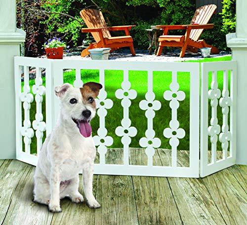 Etna White Floral Wooden Pet Gate - Freestanding Foldable Adjustable 3-Section Dog Gate. Extra Wide, Keeps Pets Safe Indoors/Outdoors - Fully Assembled