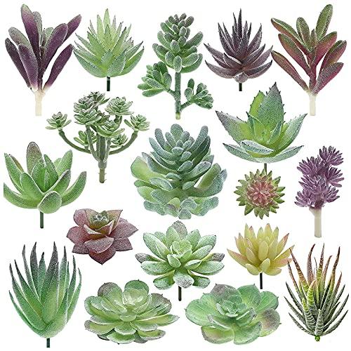 Hileyu 18 Pezzi Piante succulente Artificiali Piante Grasse Finte Decorative Fiori Finti Piante grasse finte Assortimento in Floccato per Fai da Te Decorazioni da Giardino per Interni all'aperto
