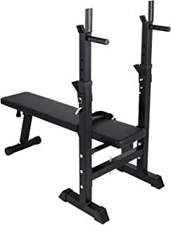 Popsport 330/440LBS Adjustable Folding Weight Lifting Flat Incline Bench Fitness Workout Bench for Full Body Workout (440lbs)