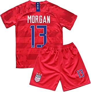 BarleyRe New 2019-2020 Morgan #13 USA Home Soccer Jersey Shorts for Kids/Youths