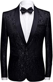 Allthemen Men's Casual Blazer Slim Fit Paisley Floral Jacquard Suit Jackets Stylish Coats Chic Jackets, Black, M