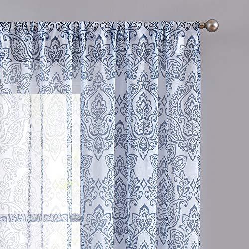 FMFUNCTEX Blue White Damask Sheer Curtain 63 inch for Bedroom Vintage Floral Pattern Print Window Drapes for Living Room Light Filter Rod Pocket Curtain Panels 2 pcs