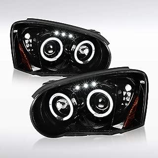 Autozensation For Subaru Impreza WRX STI Slick Black LED Halo Projector Headlights Pair