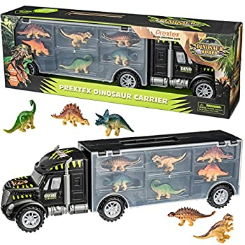 "Prextex 16"" Tractor Trailer Dinosaur Carrier with 6 Mini Plastic Dinosaurs Playset"