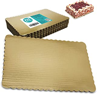 [17 Pack] 14x10 Inch Gold Corrugated Cake Board - Laminated Rectangular Quarter Sheet, Scalloped Cardboard Base, Pizza, Desserts and Pastries Food Trays, Grease Proof and Moisture Resistant