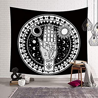 Altar Tarot Tapestry Wall Hanging,Moon and Sun with Many Fractal Faces Celestial Palmistry Hand Energy Mystic Tapestry for bedroom Living Room, Black and White Tapestry, Bedroom Tapestry Wall Hanging 37.4W x 28.7L Inch