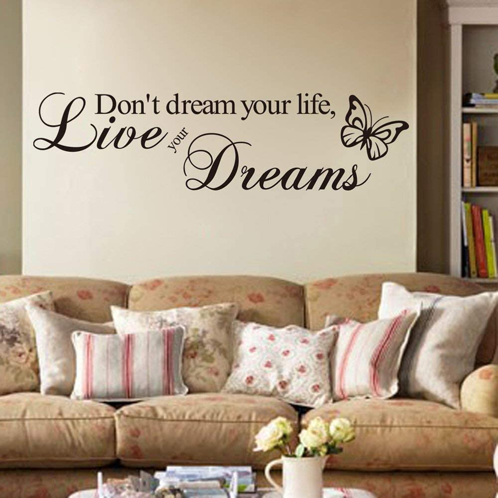 Ufengke Inspirational Don T Dream Your Life Live Your Dreams Quotes Wall Art Stickers Decorative Words Letters Simple Removable Diy Vinyl Wall Decals Living Room Bedroom Mural Furniture Decor