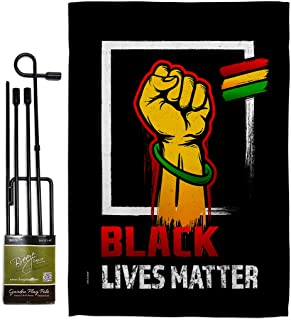 Black Matter Anti Racism Garden Flag - Set with Stand Support Cause BLM Revolution Movement Equality Social - House Decora...