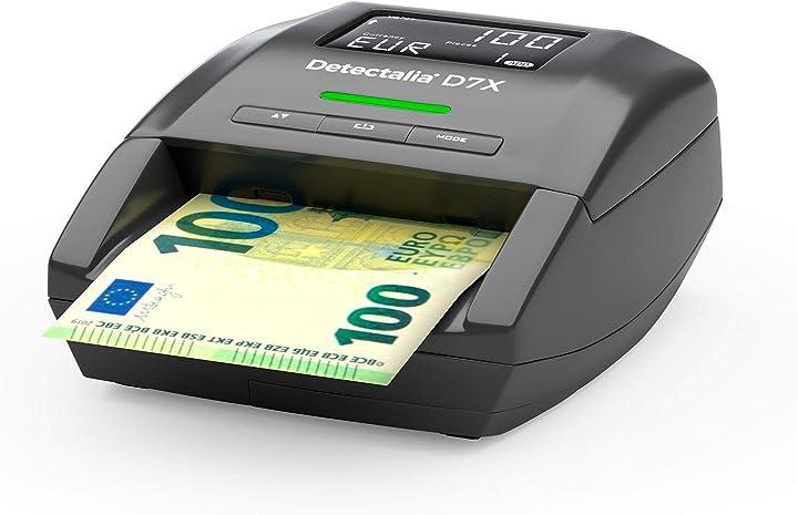 detectalia rilevatore di banconote false eur, gbp, chf, pln e sek con 7 controlli di contraffazione e affidabilità al 100 d7x-eu
