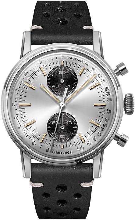 Orologio cronografo ibrido quarzo meccanico acciaio inox argento pelle nero vintage orologio uomo undone UND-URB-FIX-VIN-SILVER
