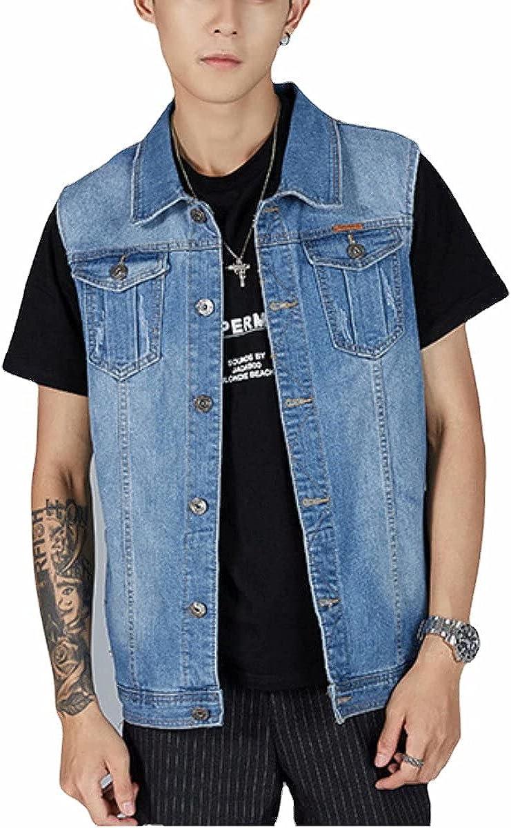 Casual Button Down Denim Vest for Men Sleeveless Plus Size Jean Vest Vests Jacket Summer Fall