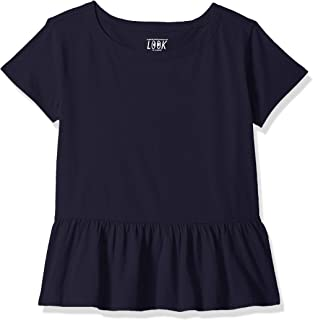 Amazon/ J. Crew Brand- LOOK by crewcuts Girls' Short Sleeve Peplum Tee
