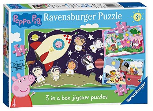 Ravensburger 6959 Wutz Peppa Pig 3 in Box (15, 20, 25 Teile) Puzzle für Kinder ab 3 Jahren, 0