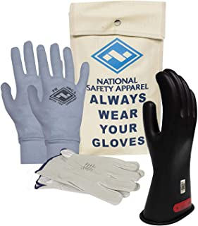 National Safety Apparel Class 0 Black Rubber Voltage Insulating Glove Premium Kit with FR Knit Glove and Leather Protectors, Max. Use Voltage 1,000V AC/ 1,500V DC (KITGC010AG)