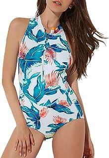 Zhicaikeji Surfing Suit Maillot de bain une pièce sans manches pour femme Blanc Taille M