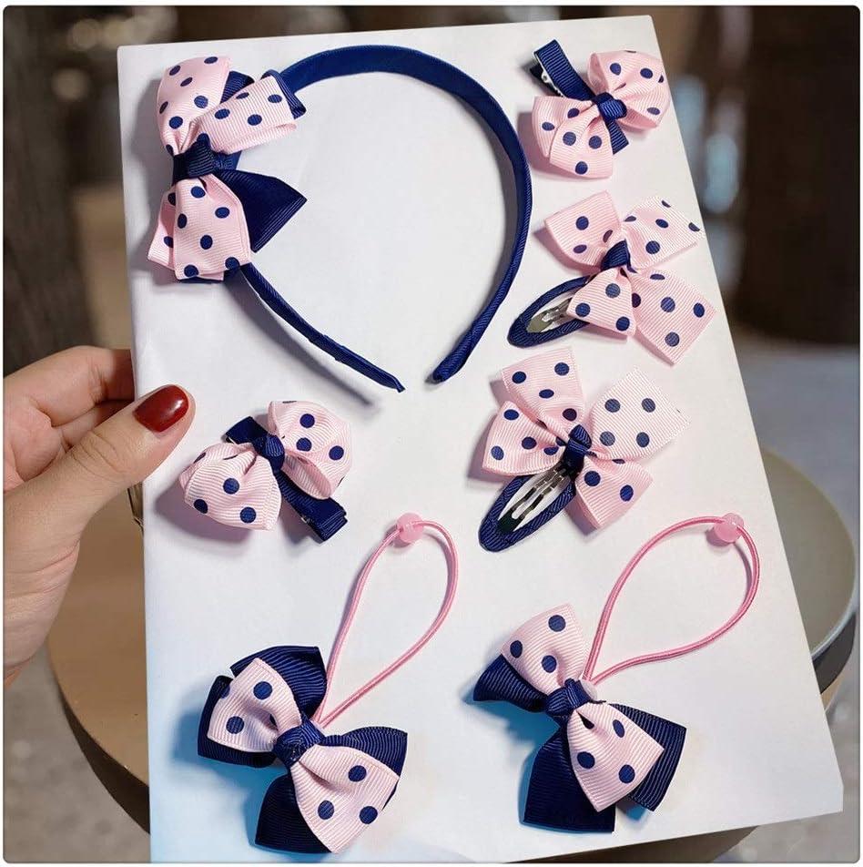 XKAOL shipfree 7Pcs Set Pink Bowknot Gu Hoop Clip Phoenix Mall Hair Children