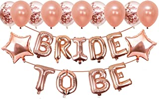 Party Propz Paper Bride To Be Decoration Set With Bride To Be Ring Balloon, Metallic Balloons, Star Foil, Rose Gold, 23pcs