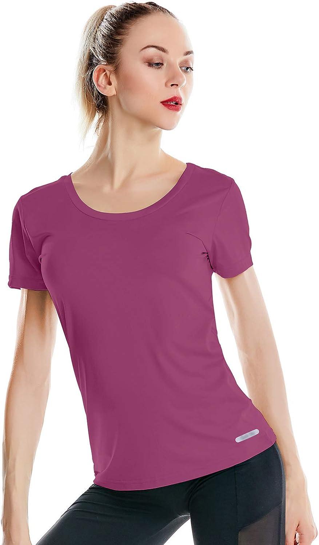Zengjo Womens Scoop Indefinitely Neck Gym T Ranking TOP5 fo Shirts Sleeve Short Shirt Yoga