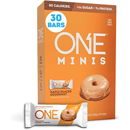 ONE MINIS Protein Bars, Maple Glazed Doughnut, Gluten-Free Protein Bar with 7g Protein and Less Than 1g Sugar, Snacking for Fitness Diets, 0.88 Ounce (30 Pack)
