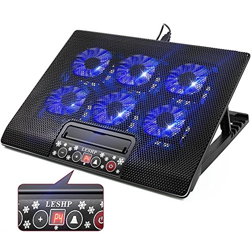 Laptop Cooling Pad with 6 Fans, Laptop Cooler for MacBook Pro / Air HP NoteBook, 15.6 - 17 Inch, LCD Screen, 2 USB Ports - Adjustable Computer Cooler Stand with Removable USB Cable, Blue LED,Black