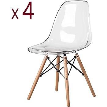 MeillAcc Lot de 4 Chaise Transparente Scandinave Chaise Salle a Manger Chaise de Cuisine en Polycarbonate Chaise Transparente Simple et Pratique