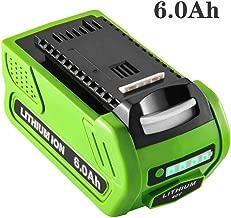 40V 6000mAh High Capacity Replace for Greenworks 40V Lithium Ion Battery for GreenWorks 29472 29462 Battery GreenWorks 40V G-MAX Power Tools 29252 20202 22262