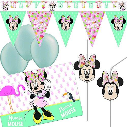 Nieuwe 21-delige decoratieset * Minnie Mouse - Tropical * met slinger + wimpelketting + tafelkleed + rietjes | muis kinderen verjaardag themafeest Disney Decoratie